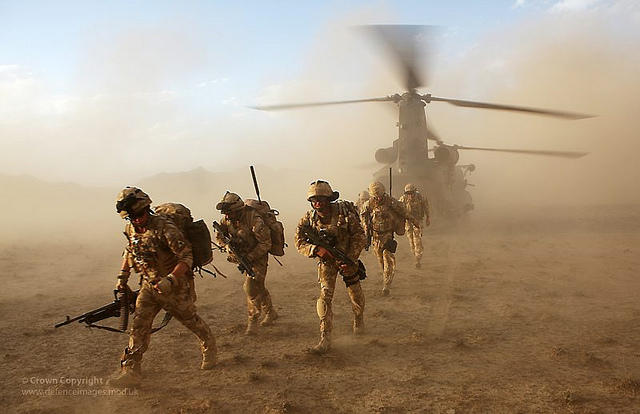Soldiers from 3 Scots Deploy from a Chinook Helicopter in Afghanistan